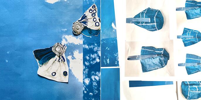 「青と白」展 冨沢恭子の空色のかばんと sunuiの青白カンカンバッチ